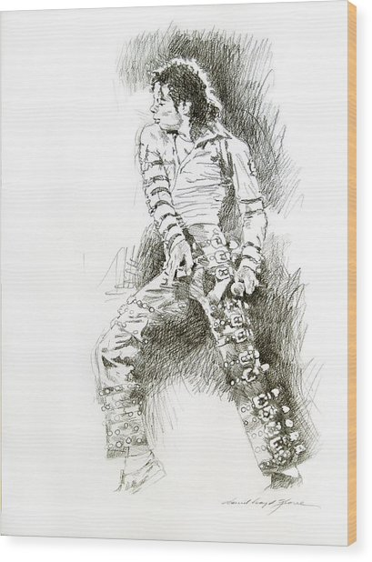 Michael Jackson - Onstage Wood Print by David Lloyd Glover