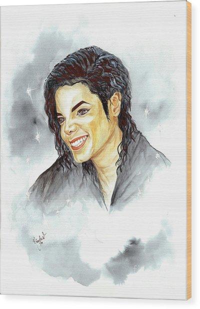 Michael Jackson - Smile Wood Print by Nicole Wang