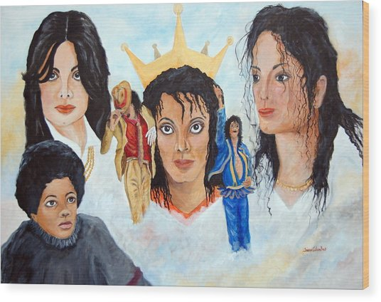 Michael Jackson-faces Wood Print by Janna Columbus
