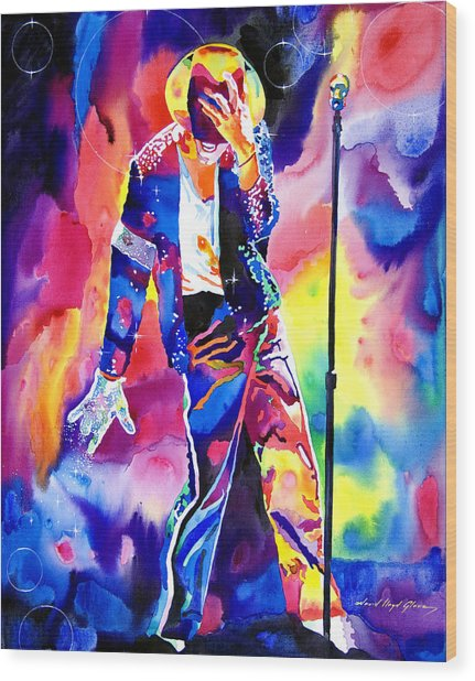 Michael Jackson Sparkle Wood Print