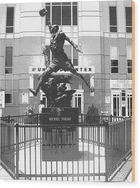 Michael Jordan Statue Wood Print by Amber Roth