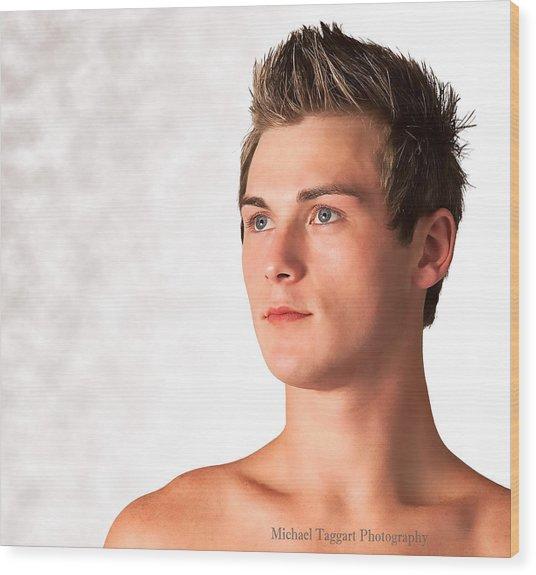 Michael Phelps Blue Eyes Wood Print