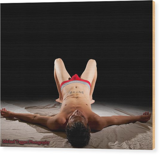 Wood Print featuring the photograph Michael Phelps Spotlight by Michael Taggart