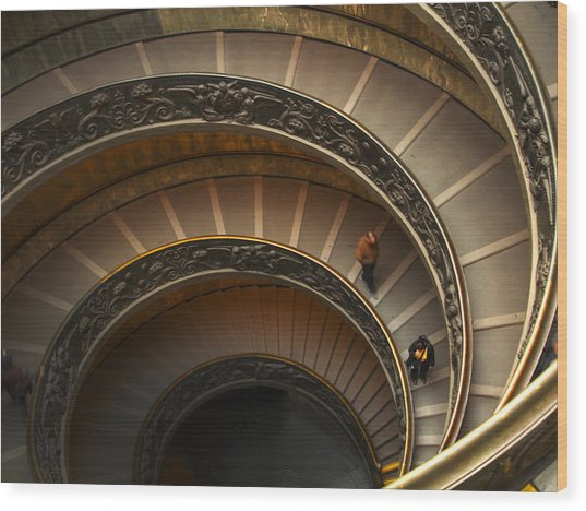 Michelangelo's Spiral Stairs Wood Print