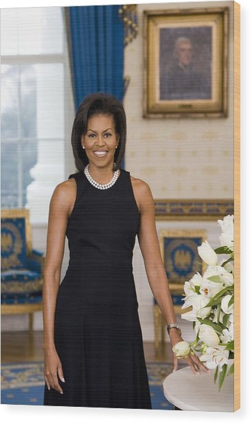 Michelle Obama 1964-, In Her Official Wood Print by Everett