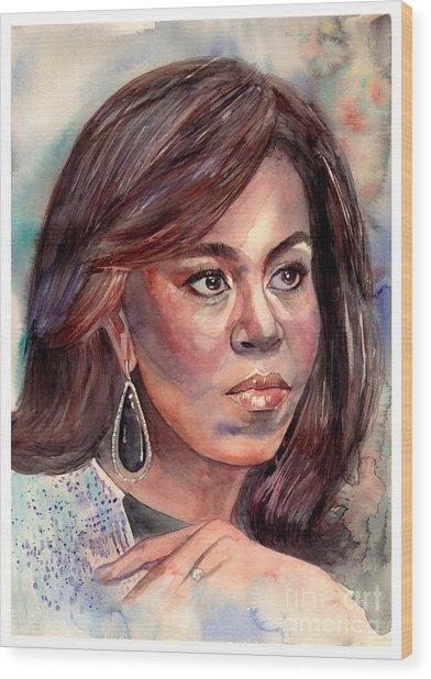 Michelle Obama Portrait Wood Print