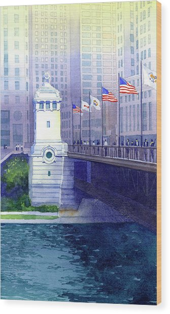 Michigan Avenue Bridge Wood Print