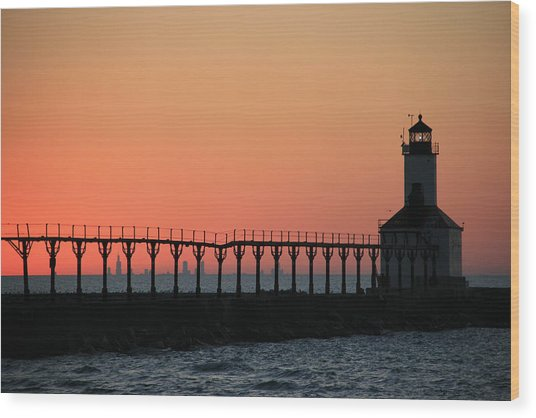 Michigan City East Pier Lighthouse Wood Print