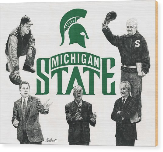 Michigan State Coaching Legends Wood Print