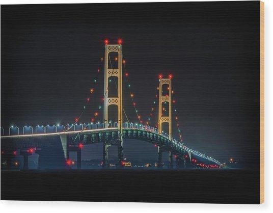 Michigan's Nightlight Wood Print