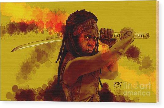 Michonne Wood Print