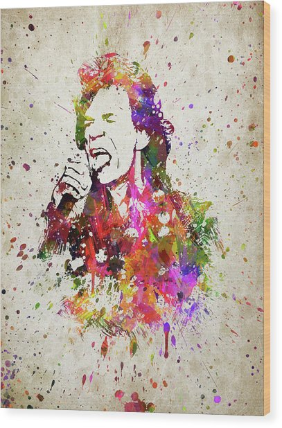 Mick Jagger In Color Wood Print