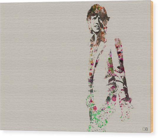 Mick Jagger Watercolor Wood Print