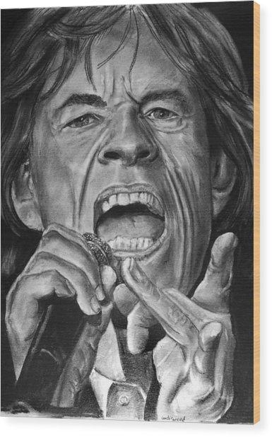 Mick Jagger Wood Print