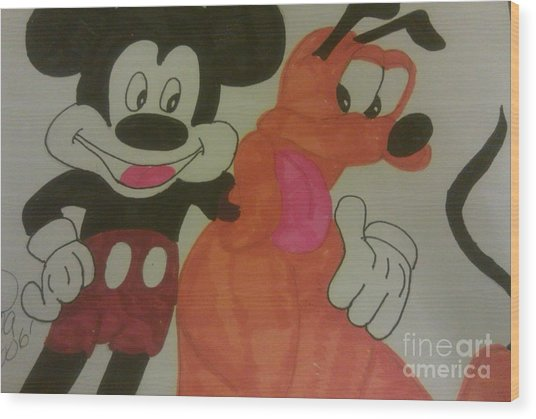 Mickey And Best Pal Pluto Wood Print