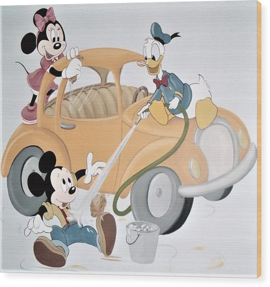Micky,minnie And Donald On Car Wood Print