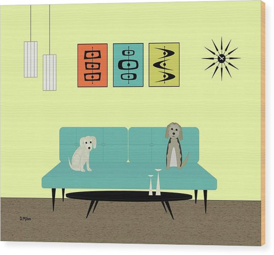 Mid Century Modern Dogs 2 Wood Print