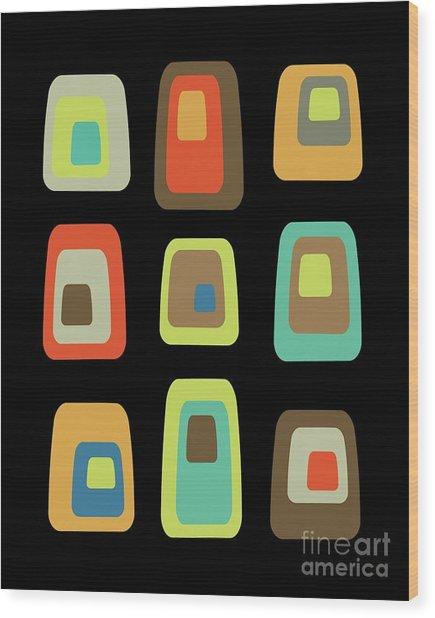 Mid Century Modern Oblongs On Black Wood Print