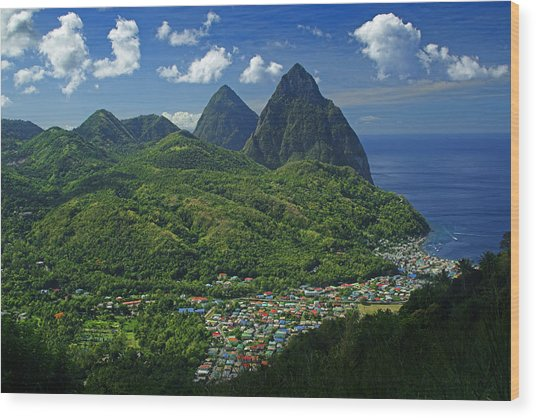 Midday- Pitons- St Lucia Wood Print