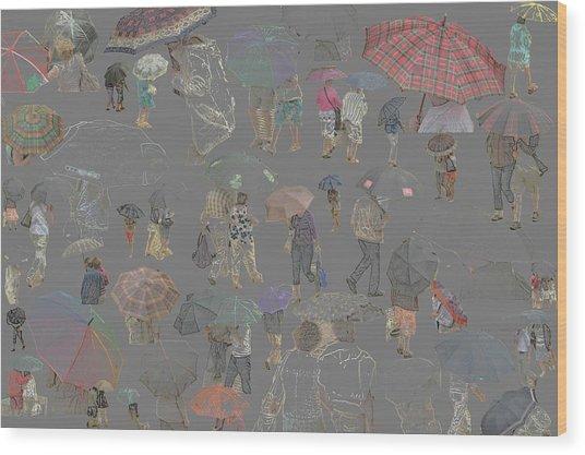 Middelkerke Umbrellas Wood Print by Dominique De Leeuw