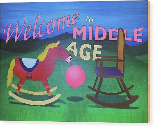 Middle Age Birthday Card Wood Print