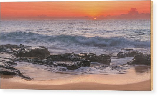 Middle Beach Sunrise Wood Print