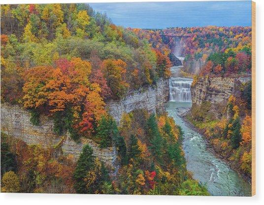 Middle Falls Peak Wood Print