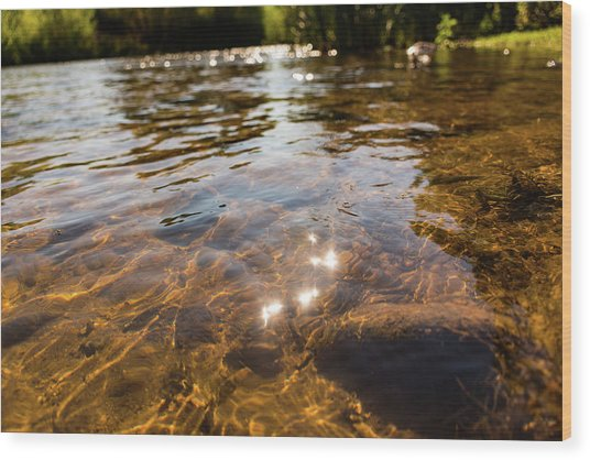 Middle Of The River Wood Print
