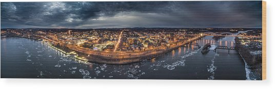 Middletown Ct, Twilight Panorama Wood Print