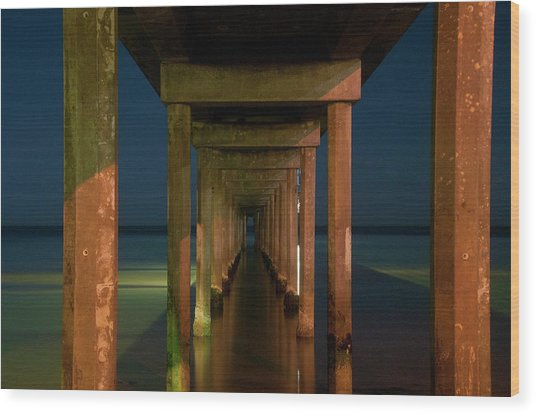 Midnight At Brighton Jetty Wood Print
