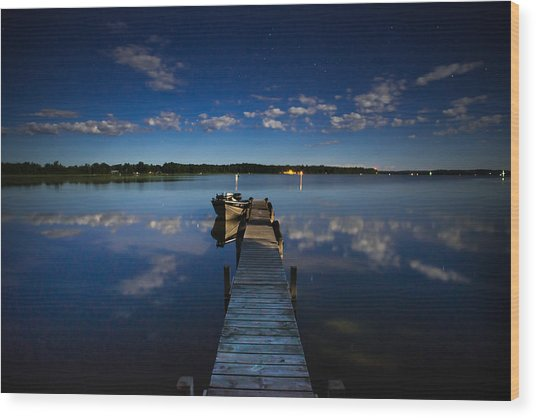 Midnight At Shady Shore On Moose Lake Minnesota Wood Print