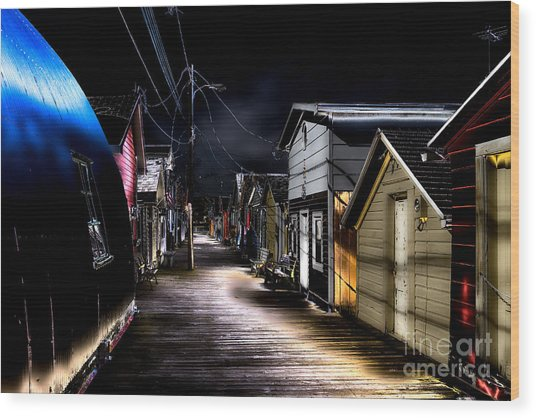 Midnight At The Boathouse Wood Print