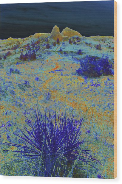 Midnight At The Burning Coal Vein Wood Print