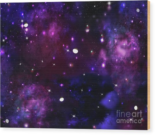 Midnight Blue Purple Galaxy Wood Print