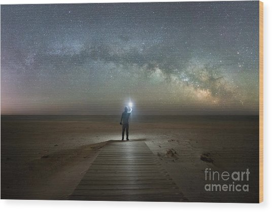 Midnight Explorer At Assateague Island Wood Print