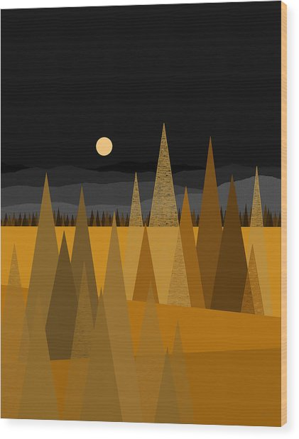 Midnight Gold Wood Print