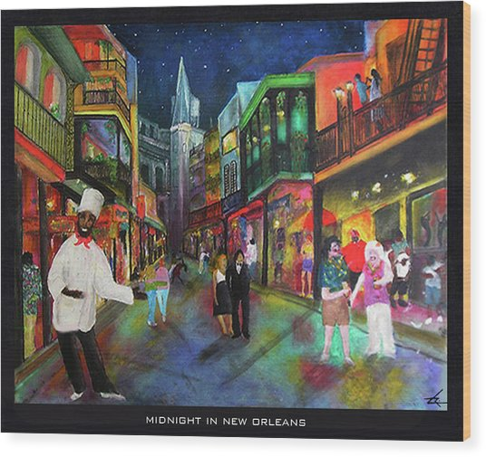 Midnight In New Orleans Wood Print