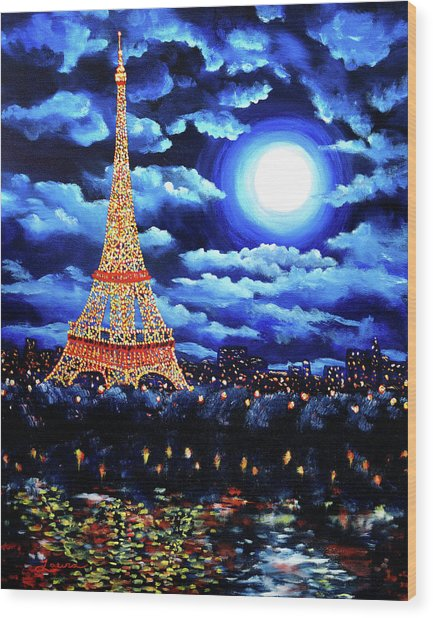 Midnight In Paris Wood Print