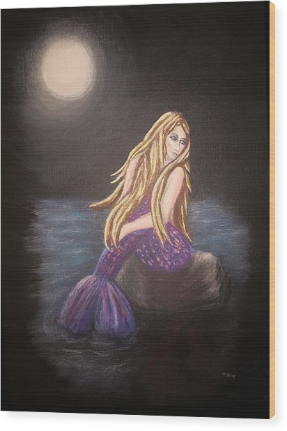 Midnight Mermaid Wood Print
