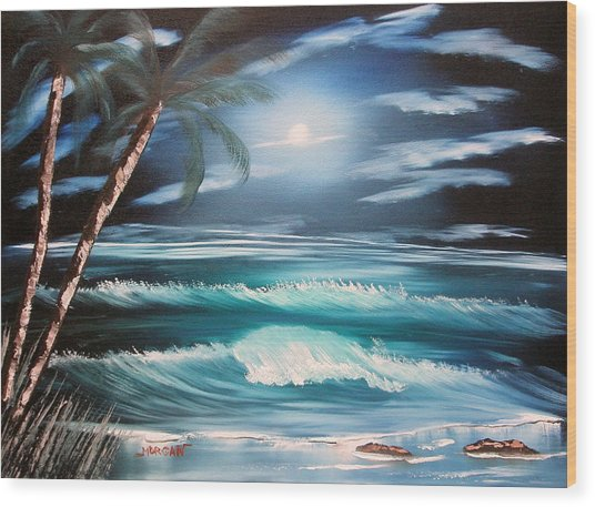 Midnight Ocean Wood Print by Sheldon Morgan
