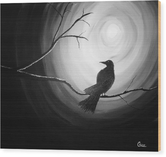 Midnight Raven Noir Wood Print