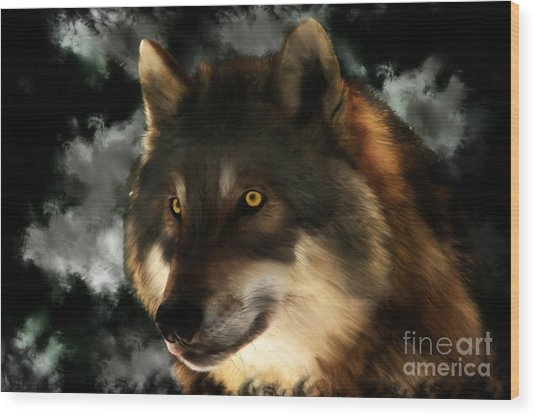 Midnight Stare - Wolf Digital Painting Wood Print