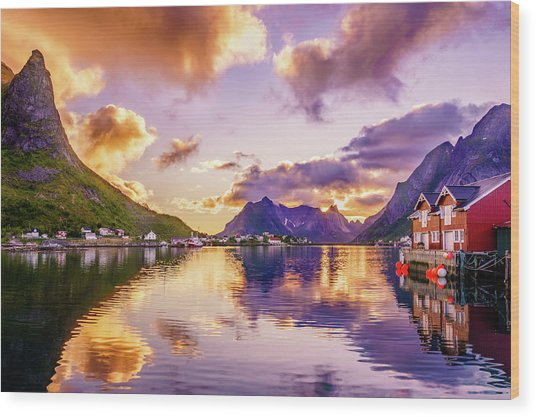 Midnight Sun Reflections In Reine Wood Print