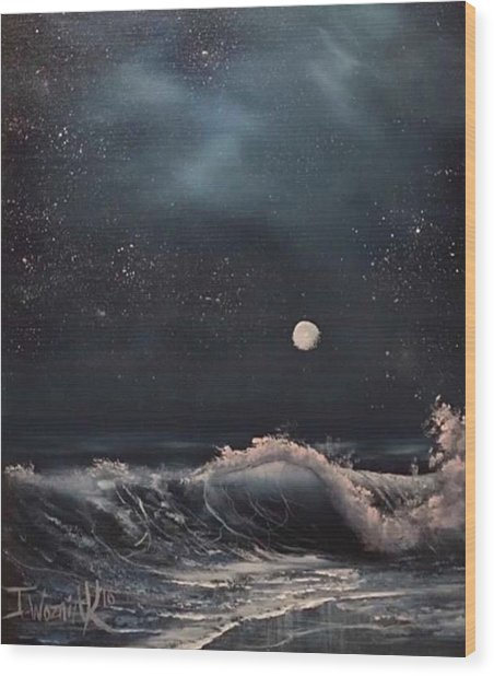Midnight Surf  Wood Print