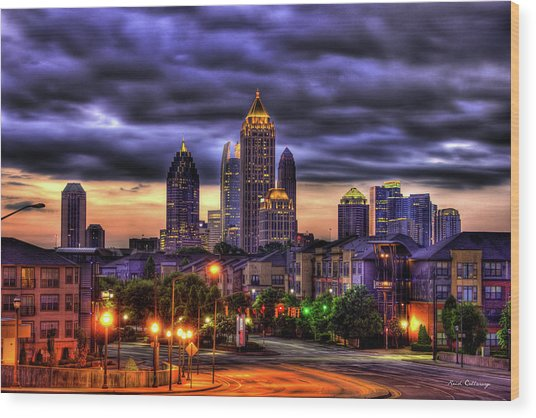 Midtown Atlanta Towers Over Atlantic Commons Art Wood Print