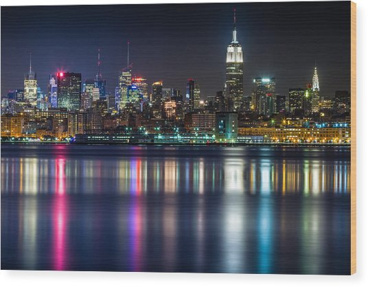 Midtown Manhattan From Jersey City At Night Wood Print