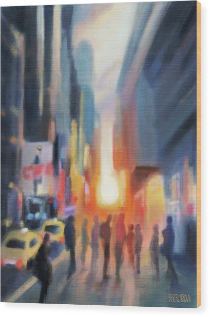 Midtown Manhattan Sunset Wood Print