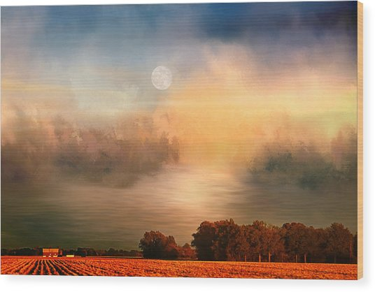 Midwest Harvest Moon Wood Print