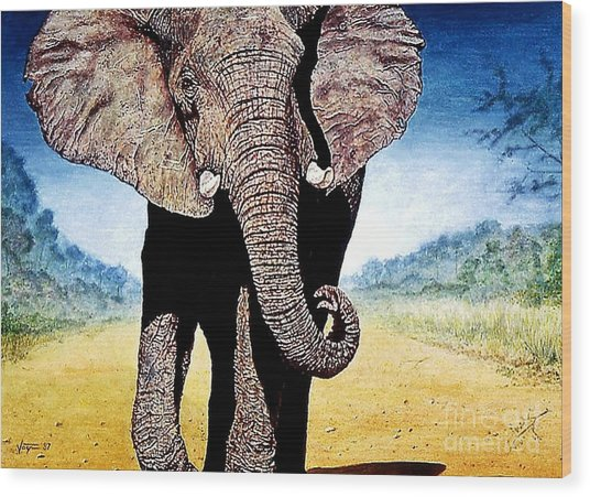Mighty Elephant Wood Print