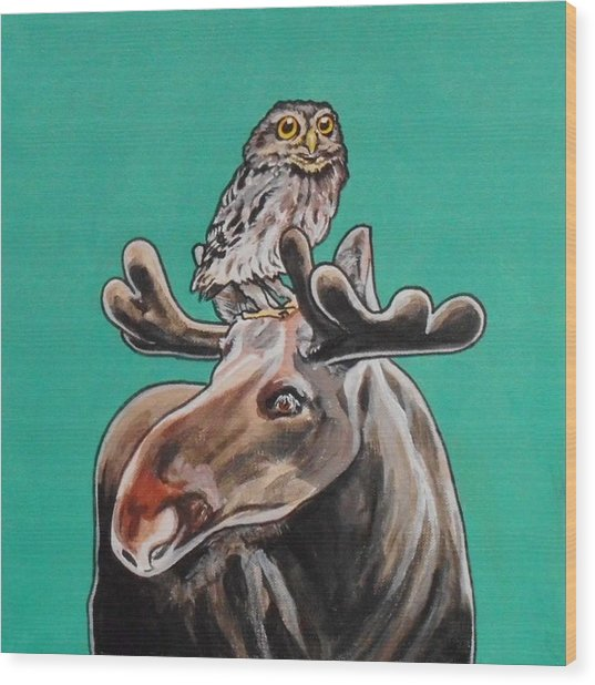 Mike The Moose Wood Print